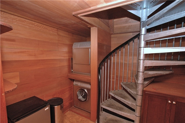 Stairwell to downstairs studio
